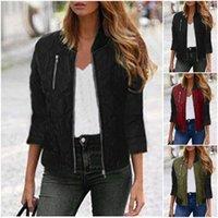Women's Jackets Fashion Women V Neck Long Sleeve Jacket Ladies Cotton Flight Coat Zip Up Biker Casual Tops Autumn Clothes S-3XL