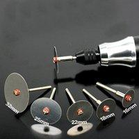 6pcs / set a fetta in acciaio inox tagliente in metallo con 1 mandrino per strumenti rotanti Dremel 16 18 22 25 32 32 mm Nozioni di cucitura
