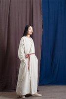 Women's Trench Coats 2021 Spring Women Vintage Long Sleeve Chinese Style Bandage Cotton Linen Coat Adjustable Waist Fashion V Neck Solid