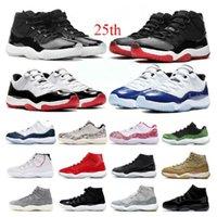 Homme 11 11s Basketball Chaussures 25e Anniversaire Légende Blanc Bred Légende Blue Citrus Pantone Casquette et robe Hommes Femme Sneakers Chaussures US 5.5-13