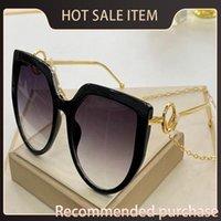 Popüler Kalite Tasarım UV Güneş Gözlüğü 0408 Koruyucu Çerçeve Yeni Basit Stil Kedi Gözü Kadın Zincir 400 Tasarım Kulak Gözlük Üst Moda WDSJ
