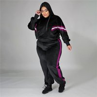 Plus size 3XL 4XL women bigger size fleece tracksuits fall winter sweat suits pullover hoodies+pants two piece set casual black outfits 4189
