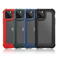 2 in 1 Carbon Fiber Shockproof Phone Cases for iphone 13 12 11 Pro max xs xr x 6 7 8 SE2 Samsung S 20 Ultra S20 Plus