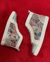 Casal Casual Sapatos dos Amantes Beads Graffiti Leather Elegante Mulheres Vermelhas Bottom Sneakers Mulheres Bom Comfort Skate Vestido Partido Passeio EU35-47