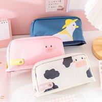 Casi di sacchetti cosmetici carino kawaii tela tela matita cassa alta capacità lettera penna per ragazze regalo materiale scolastico cancelleria coreana
