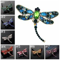 Dragonfly Brooch Crystal Diamond Pins Luxury designer Brooches Zinc Alloy Rhinestone Fashion Women Insect Sweater Pins Cloth Accessories