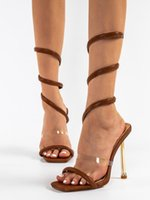 Sandals Women's Square Toe Ankle Warp High Heels Female Pumps Summer Party Show Solid Lady Shoes Thin Women 2021