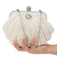럭셔리 펄 쉘 디자인 여성 이브닝 백 핸드 메이드 다이아몬드 찬 어깨 메신저 가방 크리스탈 웨딩