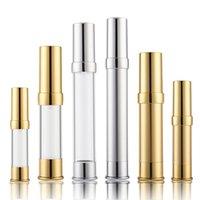 Boş 5 ml 10 ml 15ml 20 ml 30 ml Sprey Parfüm Şişeleri Plastik Vakum Şişe Kozmetik Ambalaj Tüp Altın Gümüş Renk