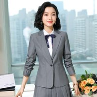 Formal Business Blazer Coat OL Styles Summer Elegant Grey Blazers Jackets For Women Ladies Office Outwear Tops Women's Suits &