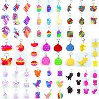 Push Bubble Fidget Toys Sensory Dinosaur unicorn cute animal colorful keychain Anti Stress Educational Children And Adults Decompression Toy gifts