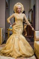 vestido de noiva gold wedding dress plus size Beaded Nigerian Bridal Gown Mermaid Lace Appliques Bridal Dresses With Long Sleeve