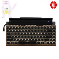 Retro Typewriter Mechanical Keyboard Wood Grain Punk Keycap Phone Tablet MAC Wireless White Backlit Bluetooth Keyboards