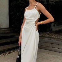 Casual Dresses Fashion Spaghetti Strap White Long Dress Women Elegant Party Backless Bandage Sexy Summer Beach