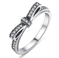 Bow Knot Stackable Ring Pandora Style Sterling Sliver Wedding Rings With Box Women Birthday Valentine's Day Gift ps0667