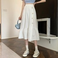 Skirts 2021 Summer Korean Style Small Design Sense Button Stitching Wild High Waist Thin A-line Womens Fashion