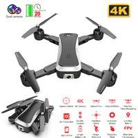 Nuevo 4K WIFI FPV RC DRONE CON 4K HD DUAL CÁMARA DUAL Flujo óptico RC Helicóptero Sensor de gravedad Selfie Pocket Drone 20mins Play Toys