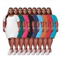 Kadın Artı Boyutu Elbiseler 4XL 5XL Yaz Giyim Rahat Düz Renk Diz Boyu Beyaz Elbise V Yaka Mini Etekler 5434