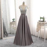 Вечеричные платья эндотек серый V-образным вырезом шарики лифа открыть обратно в линию длинное вечернее платье 2021 элегантный Vestido de Festa формальные платья