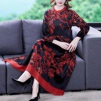 Casual Dresses COIGARSAM Women Dress Autumn 2021 Print Long Sleeve Silk Loose O-Neck Red Traf Robe Vestidos