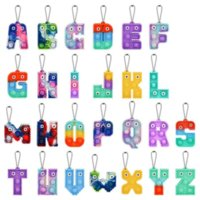 Alphabet Letters Push Keychain Party Favor Cell Phone Straps Silicone Letter Sensory Bubbles keyring Simple Dimple Fidget Finger Toy Gifts
