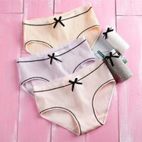 Women's Panties Ladies Small Fresh Japanese Underwear Threaded Bow Mid-waist Briefs Fashion Solid Color Simple Cotton