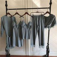 Mechcitiz 5 peças de seda pijama conjuntos de mulheres cetim sleepwear calças de vestígio outono pijamas roupão sexy lingerie laço de inverno pijama 210928