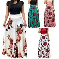 2021 الربيع واللباس الصيف جولة الرقبة قصيرة الأكمام زهرة طباعة اللون مطابقة المرأة الساحرة الأزهار المرقعة تنورة طويلة