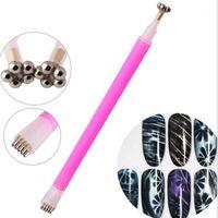 Dual Ended Magnet Stick UV Nail Gel Polish Flowers Stripe Pattern Pen Manicure DIY Tools1
