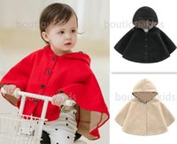 winter poncho kids baby girl clothes cape brand outwear hooded plaid style Coat jackets toddler cloaks