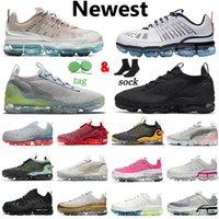 حذاء الجري Nike Air Vapormax Flyknit 2020 360 للرجال والنساء Tn Plus حجم كبير Us 13 Obsidian Oatmeal Triple أسود أبيض فريق أحمر نقي بلاتينيوم أحذية رياضية رياضية