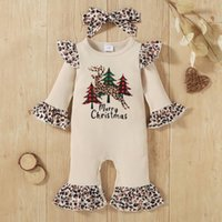 Clothing Sets Infant Christmas Romper Baby Girls Flare Sleeve Xmas Tree Elk Leopard Printed Jumpsuit Costume Cartoon Organic Cotton Clothes