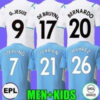 De Bruyne Sterling Ferran Manchester Soccer Jerseys 21 22 City Away White Foden 2021 2022 G.Jesus Bernardo Mahrez Man Men + Kids Long Gundogan قميص كرة القدم جماهير