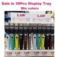 Law Twist Battery 900mah Bottom VV Spinner Battery Cartoon Preheat Mode with Display Box 3.3V-4.8V Slim Vape Pen Sale in 30pcs trays