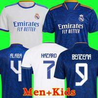 Real Madrid Maillots de football 21 22 HAZARD VINICIUS camiseta maillot de uniformes hommes + enfants enfant kits ensembles 2021 2022 de la soccer jerseys tops