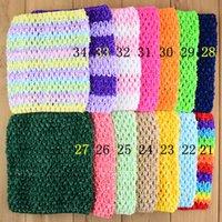 """Multicolor Baby 6 """"Crochet Punto DIEADA DIEADAS Hairbands Kids Waffle String Elástico Tutu Tubo Halter Tops Accesorios para el cabello 20pcs / lot"""