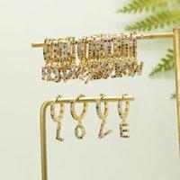 Luxury Copper Pave Zircon A-Z Initial Letter Drop Earrings For Women Cute Alphabet Gold Statement Earrings Fashion Jewelry Gifts