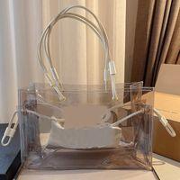 Saco de compras transparente bolsas bolsa de carteira interna PVC aberta alta capacidade de alta capacidade arenoso praia único ombro de alta qualidade letra simples