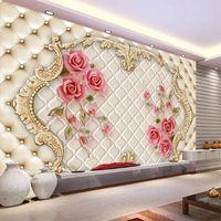 Wallpapers Custom Size 3D Self Adhesive Wallpaper Three-dimensional Rose Soft Bag Art Mural Living Room Bedroom TV Background Wall Painting