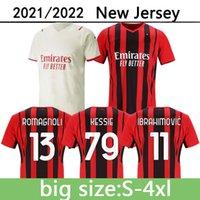 21 22 AC Mailand Big Size S-4XL Home Away Soccer Jerseys Ibrahimovic Kessie R.LEAO Theo Mandzukic Rebic Football Hemd Donnaruma Tonali Maglia da Calcio