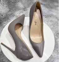 Мода роскошный дизайнер женские красные днище высокий каблук обувь большой размер EUR34 до 45 шпильки на каблуки 8 см 10 см 12 см насосы накаты на ноги резиновые серые розовые платье