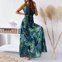 Sexy Deep V Neck Print Boho Sleeveless Backless Maxi Dress 2021 Summer Casual Tank Vintage Long Dresses For Women Robe Femme Women's Swimwea