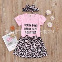 Girls Leopard Set Bambini Lettera Bambini Rompere Rompers Top Bambini Casual Vestiti Ragazze Abiti per il tempo libero Toddler Baby Leopard Gonne Fascia 403 K2