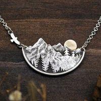الإبداعية نمط الطبيعية الجبلية المطيرة النساء القلائد الطيور الغروب قلادة قلادة حزب مجوهرات هدايا لها