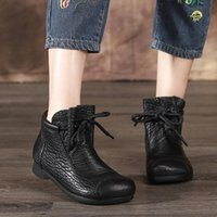 Boots Women's Female Ladies Woman Ankle Shoes Winter Spring Cow Genuine Leather Lace Up Punk Plus Fur Warm Casual