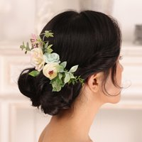 Capelli da sposa pettine per capelli romantici Bianco Blu Copricapo Blu Copricapo Delle Donne Superficie Bridal Capelli Accessori Gries Ornaments