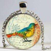 Vintage Bird Glass Pendant. Necklace, Jewelry, Birthday Gift,Christmas Gift ,Glass Cabochon Pendant,Handmake Pendant Necklaces