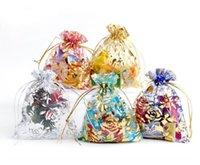 100pcs / lot Organza Bolsas de joyería bolsas para compras Moda Artesanía Regalo Pantalón de embalaje MEZCLA COLORES BA01
