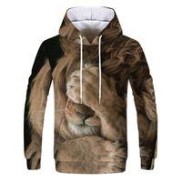 Men's Hoodies & Sweatshirts Moletom Com Capuz Estampado Animal, Casaco Masculino 3d