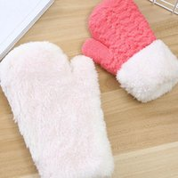 Five Fingers Gloves Winter Boy Girl Children Outdoor Mittens Thick Kids Knitted Plush Solid Color Full Finger Warm